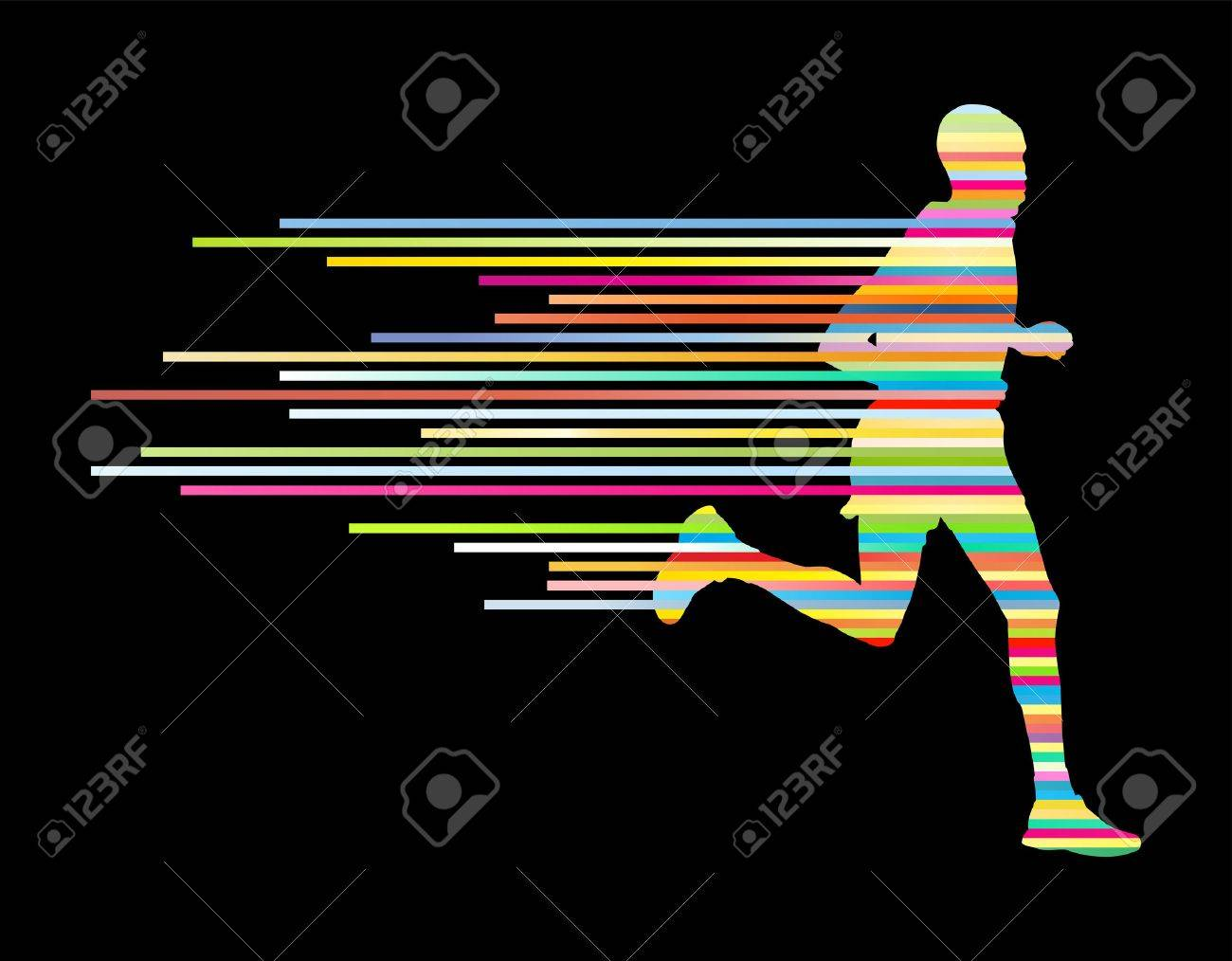 Man runner silhouette vector background template concept made of stripes - 36769509