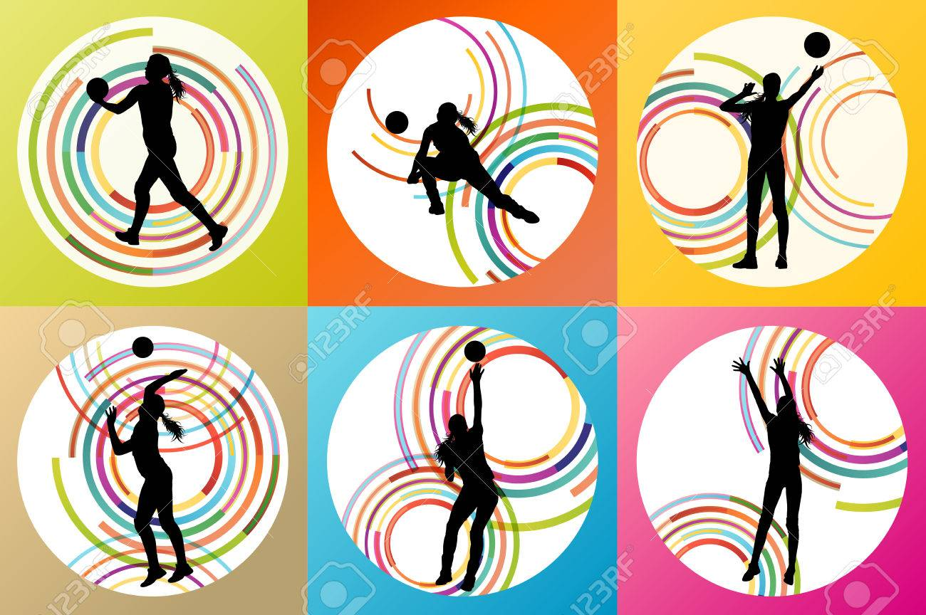 Volleyball woman player vector background set concept for poster - 36769756