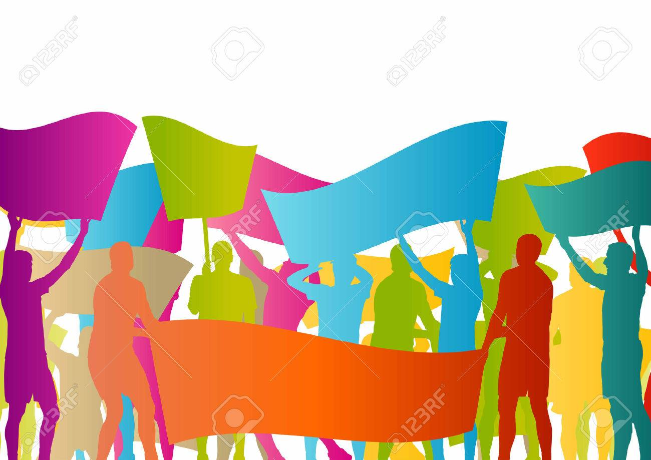 Protesters angry people crowd with posters and flags in abstract riot landscape background illustration - 37764964