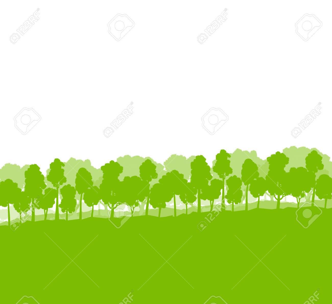 森の木のシルエット風景イラスト背景生態ベクトル コンセプト