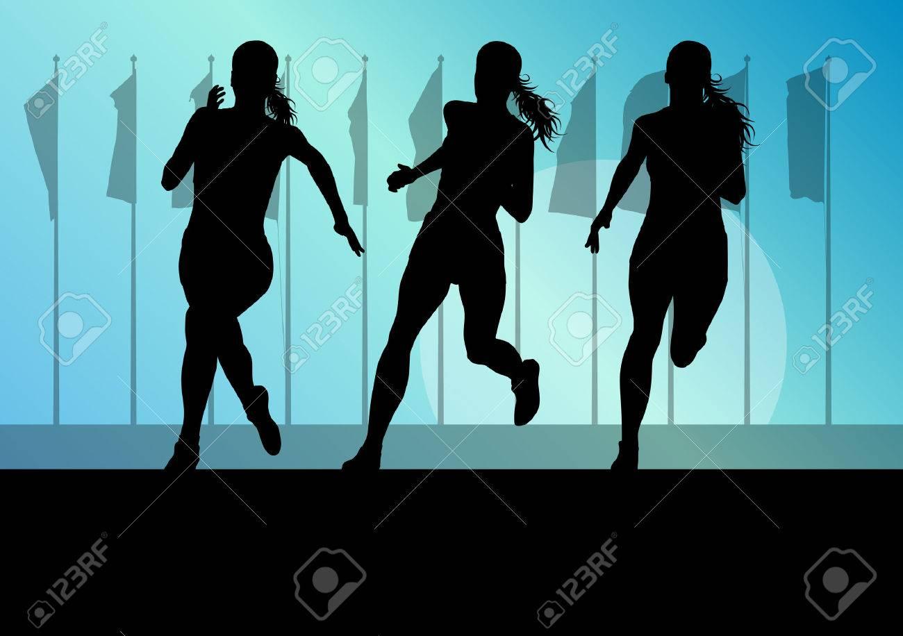 Woman runner female sprinter group vector background concept for poster - 39202957