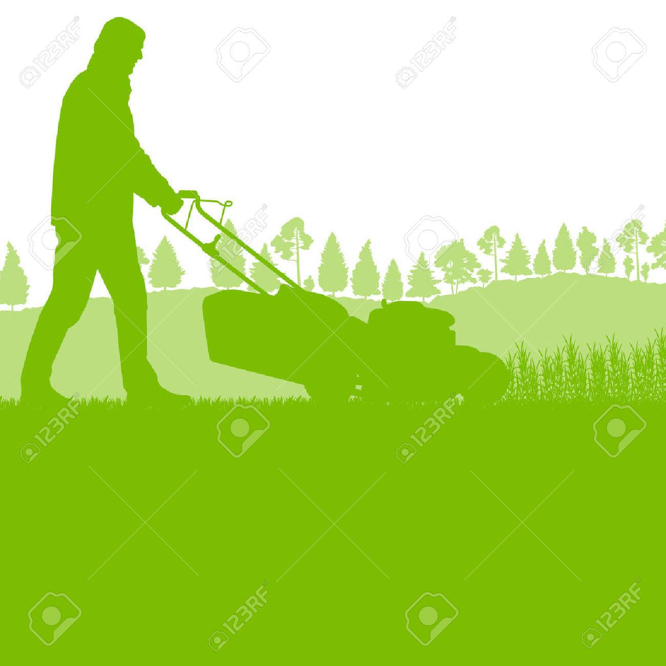 Man with lawn mover cutting grass vector background ecology concept for poster - 39203038
