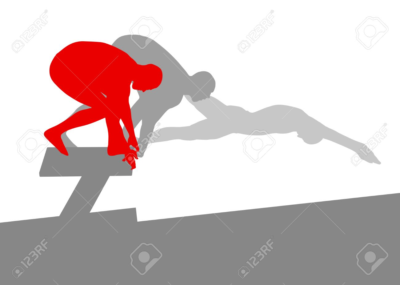 Swimmer position for jump on starting block vector background concept made of stripes - 40572321