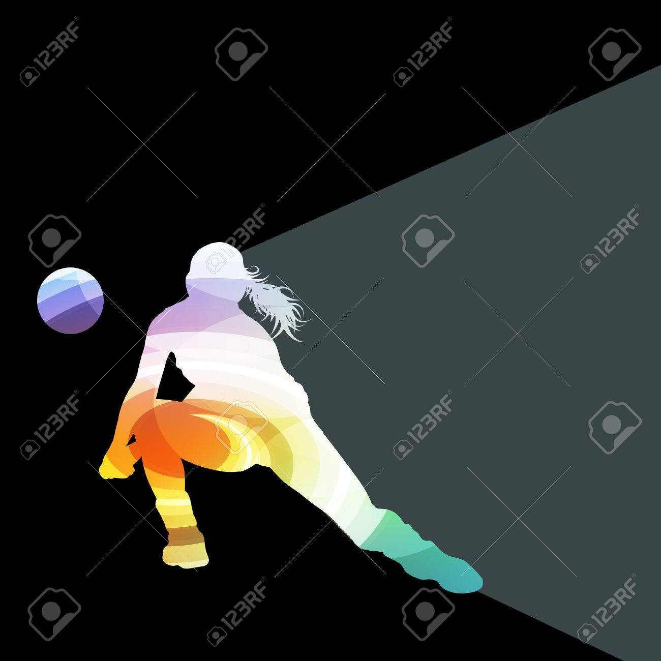 Woman female volleyball player silhouette vector background colorful concept made of transparent curved shapes - 43573614