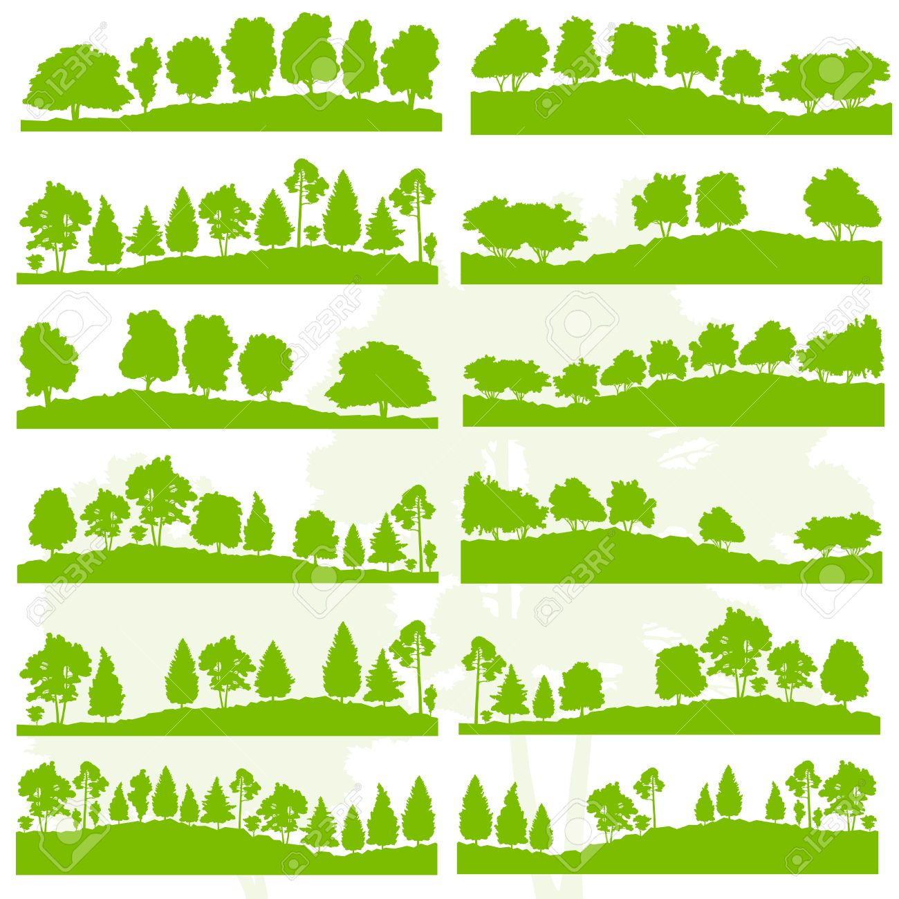 Forest trees and bushes wild nature silhouettes landscape illustration collection background vector set green ecology concept for poster - 43574158