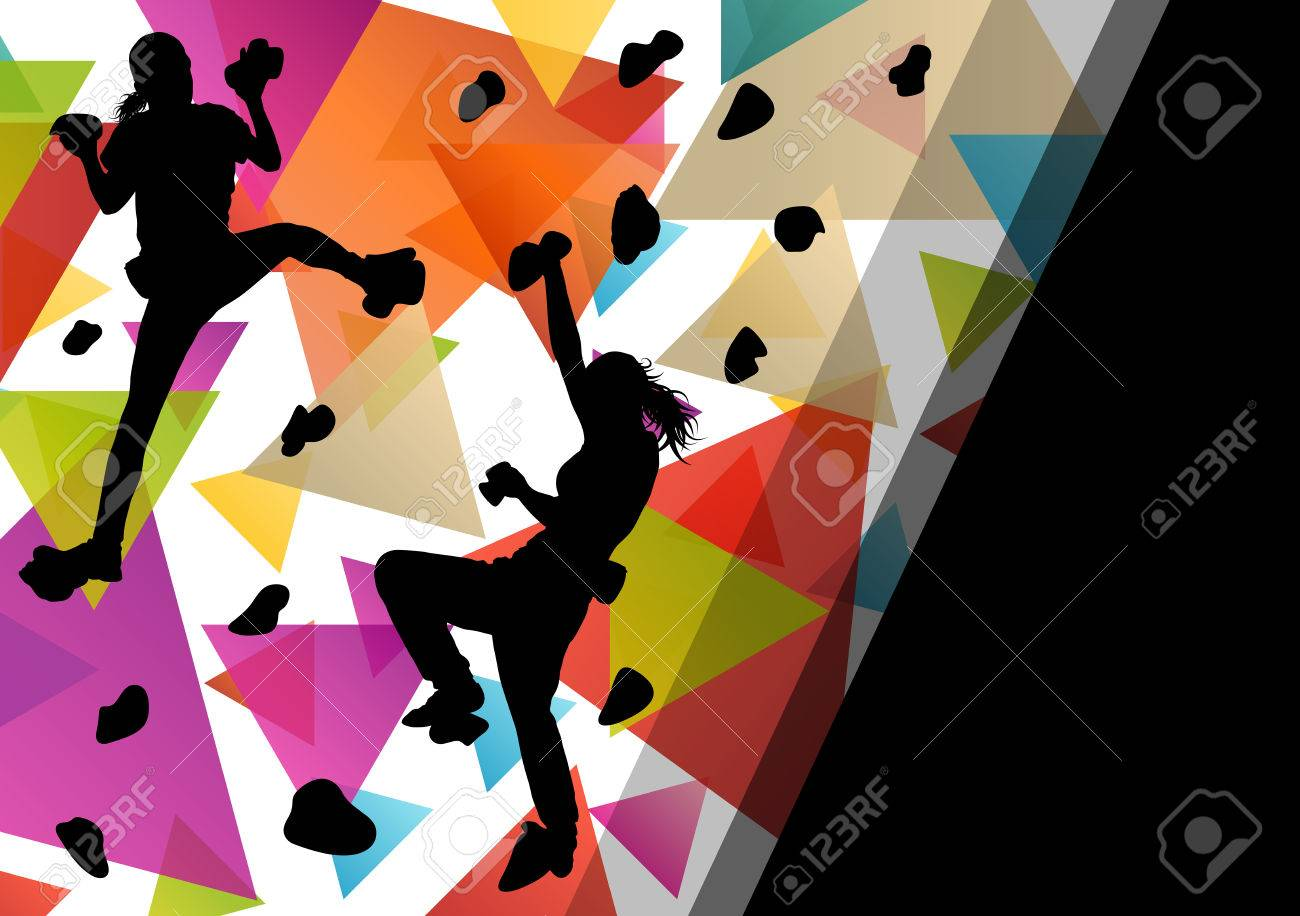 Children girl silhouettes on climbing wall in active and healthy sport background illustration vector - 52849845