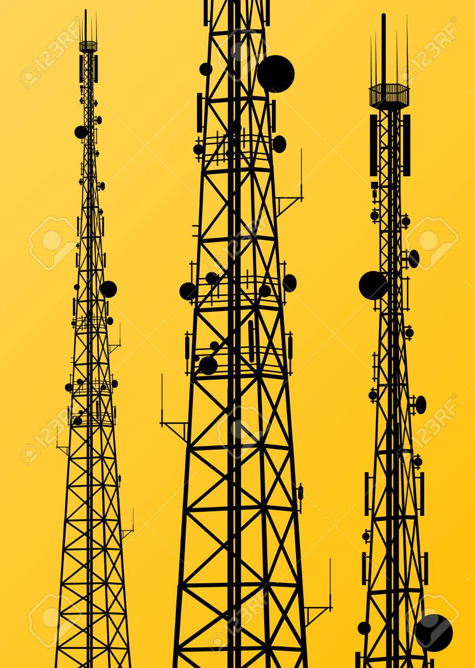 Communication transmission tower radio signal phone antenna vector - 56778729