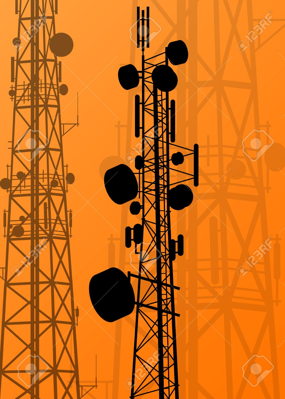 Communication transmission tower radio signal phone antenna vector - 56778569