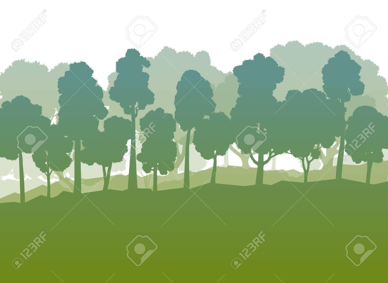 Los árboles Forestales Vector Resumen De Antecedentes Paisaje ...
