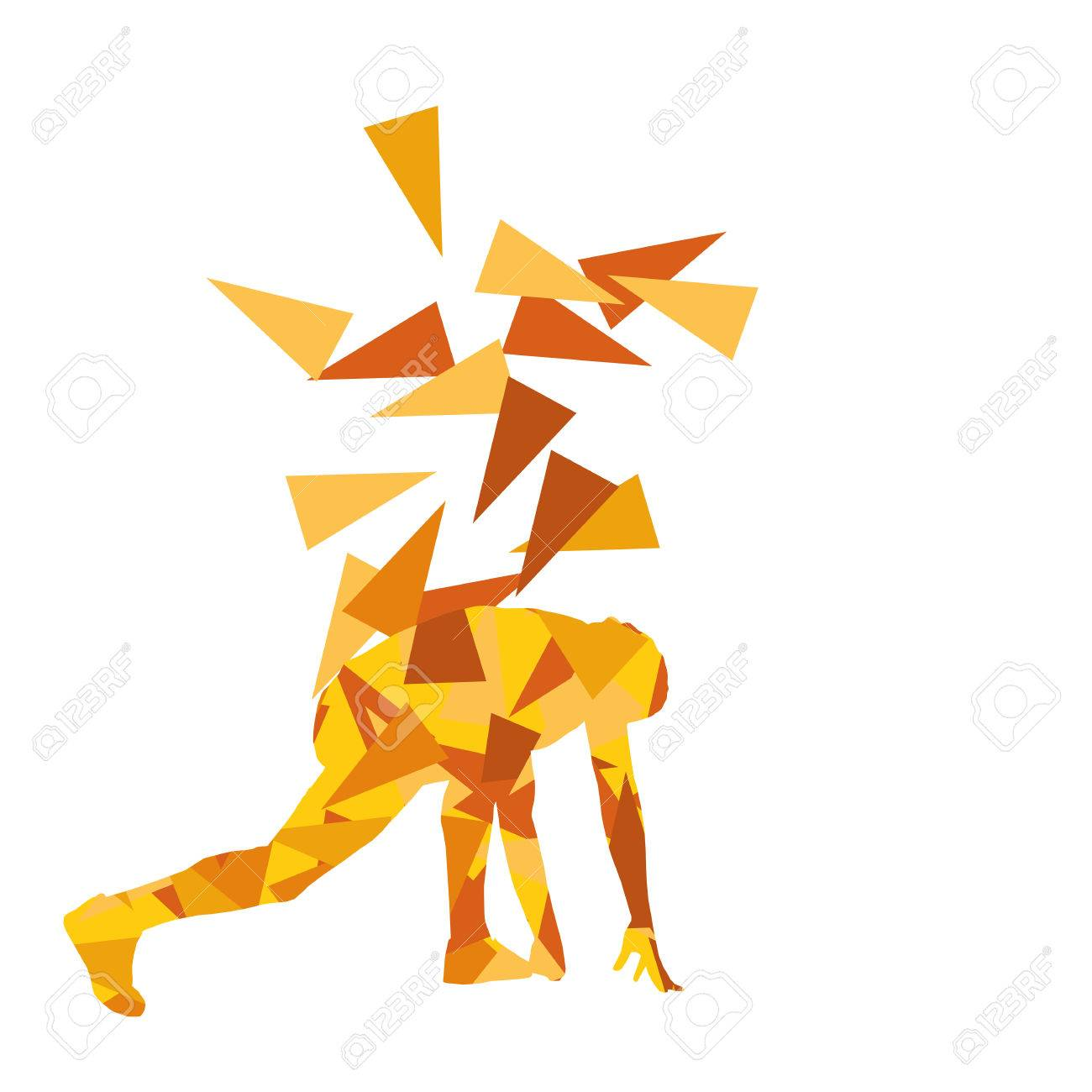 Man Stretching Exercise Fitness Warm Up Vector Background Abstract Illustration Concept Made Of Polygon Fragments Isolated