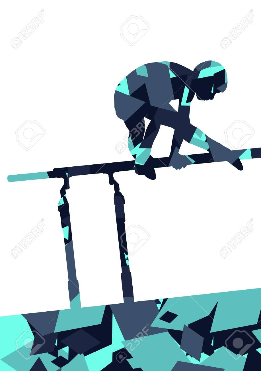 71e0e5c3fedf Foto de archivo - Niños activos silueta de deporte de niño en barras  paralelas en el fondo de mosaico abstracto ilustración vectorial