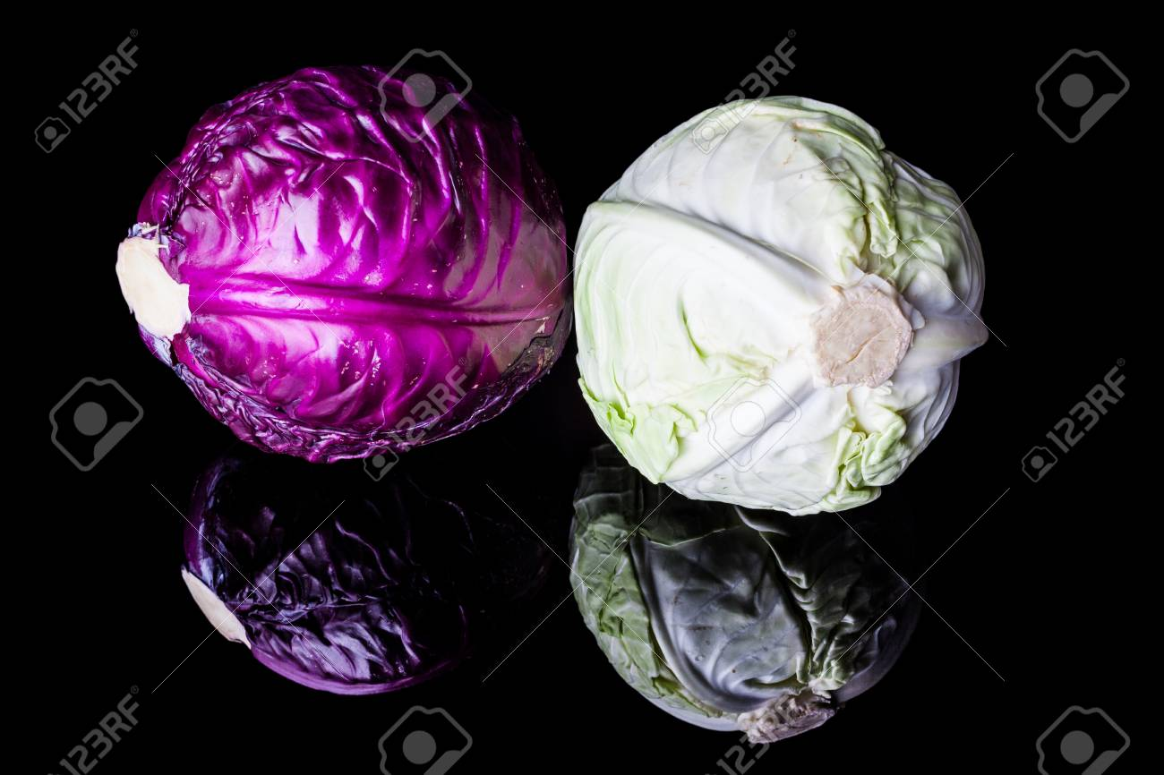Purple And White Light Green Cabbage Heads On Black Background Stock Photo Picture And Royalty Free Image Image 46471388