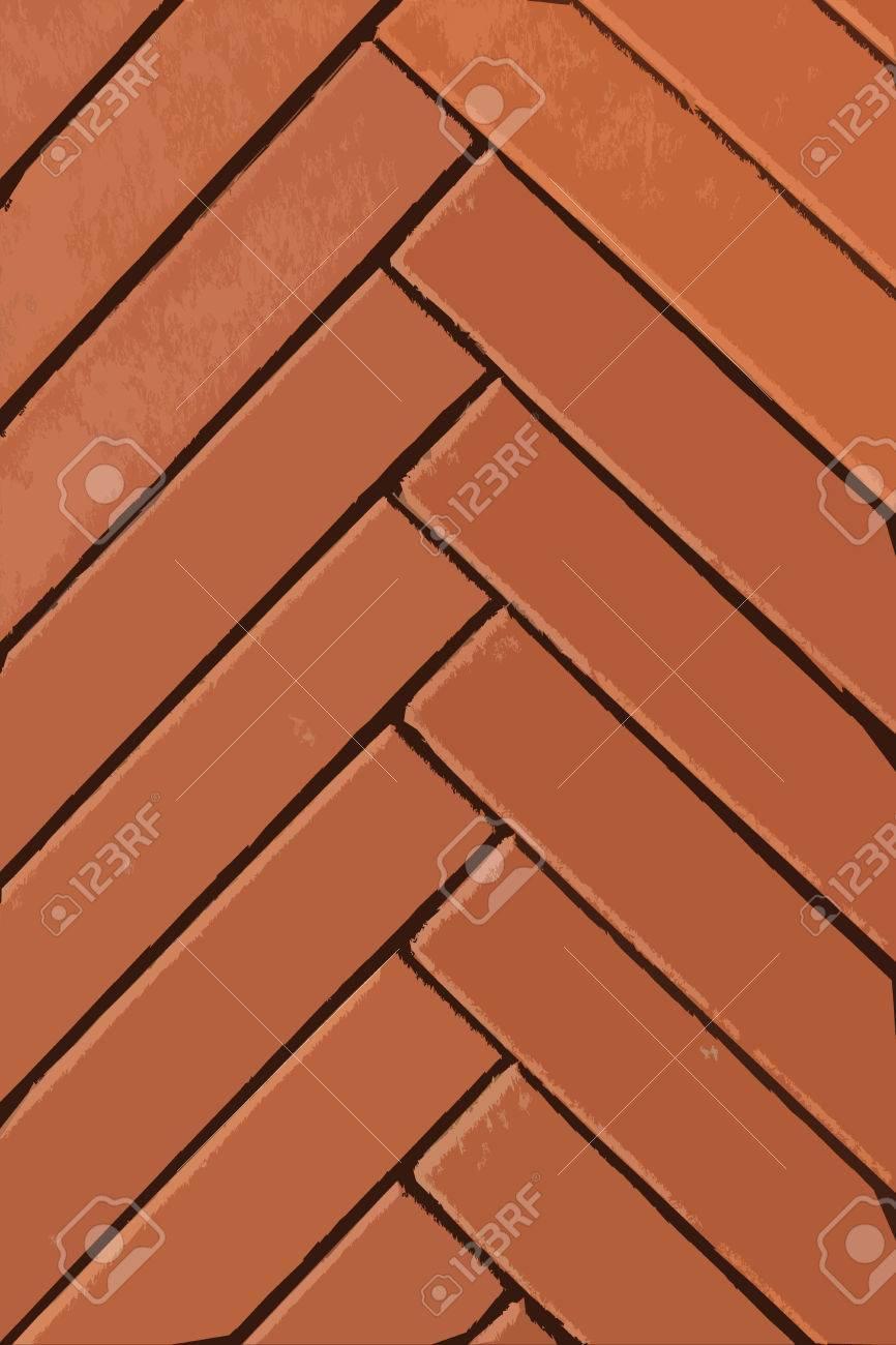 Red Narrow Animated Bricks Herringbone Pattern Background Vertical Composition Stock Photo