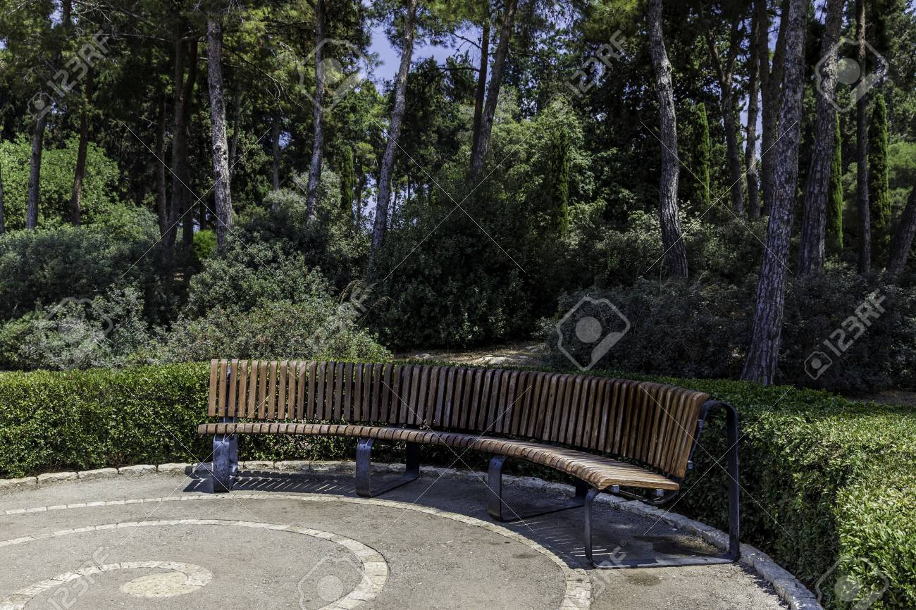 Astonishing Half Round Curved Crescent Shaped Bench In The Park With Trees Squirreltailoven Fun Painted Chair Ideas Images Squirreltailovenorg