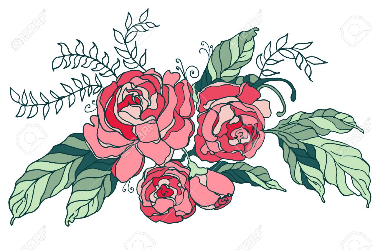 Vector Vintage Runden Rahmen Mit Blumen. Blumenkranz. Fit Für ...