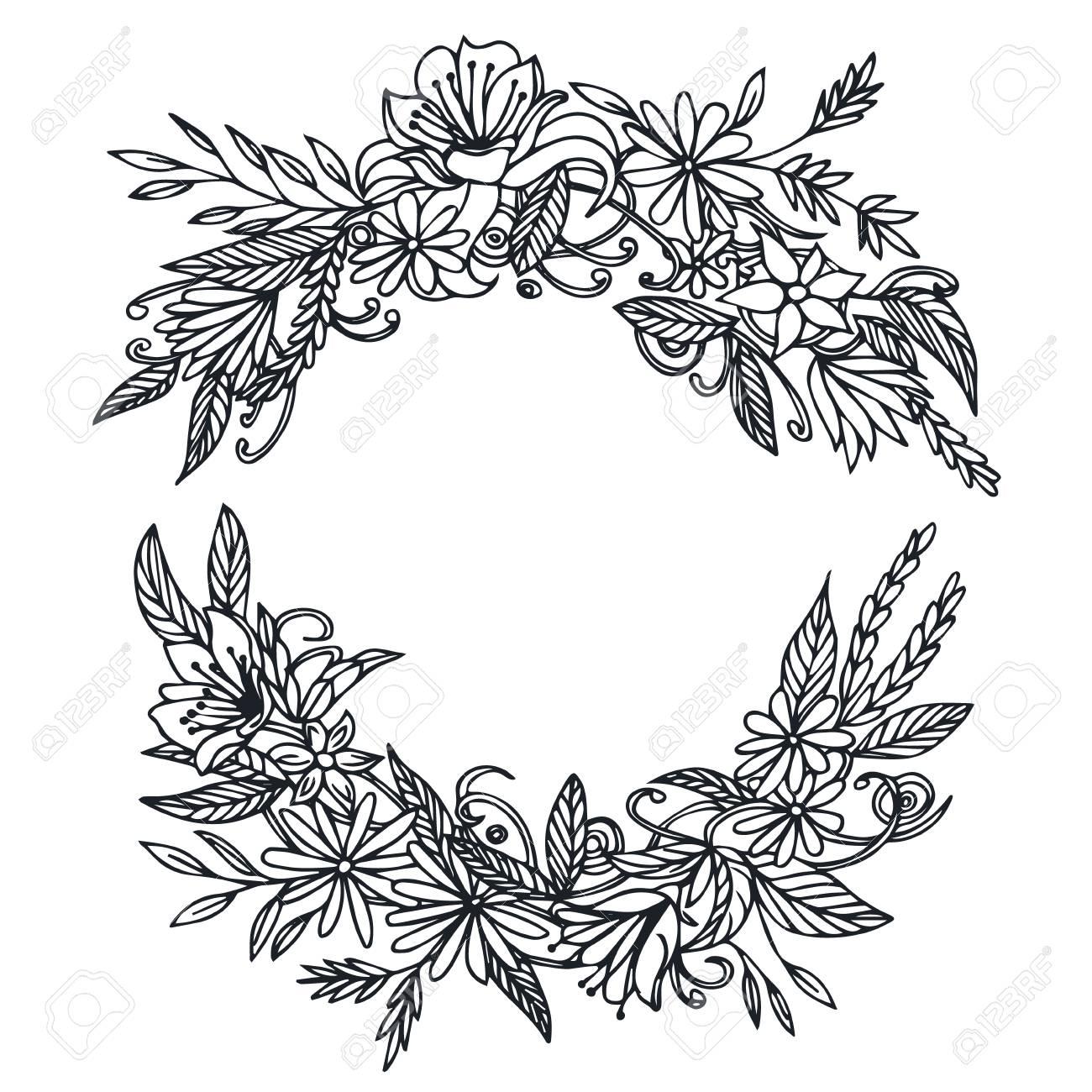 Vektor Jahrgang Runden Rahmen Mit Blumen. Blumenkranz. Schwarz Und ...