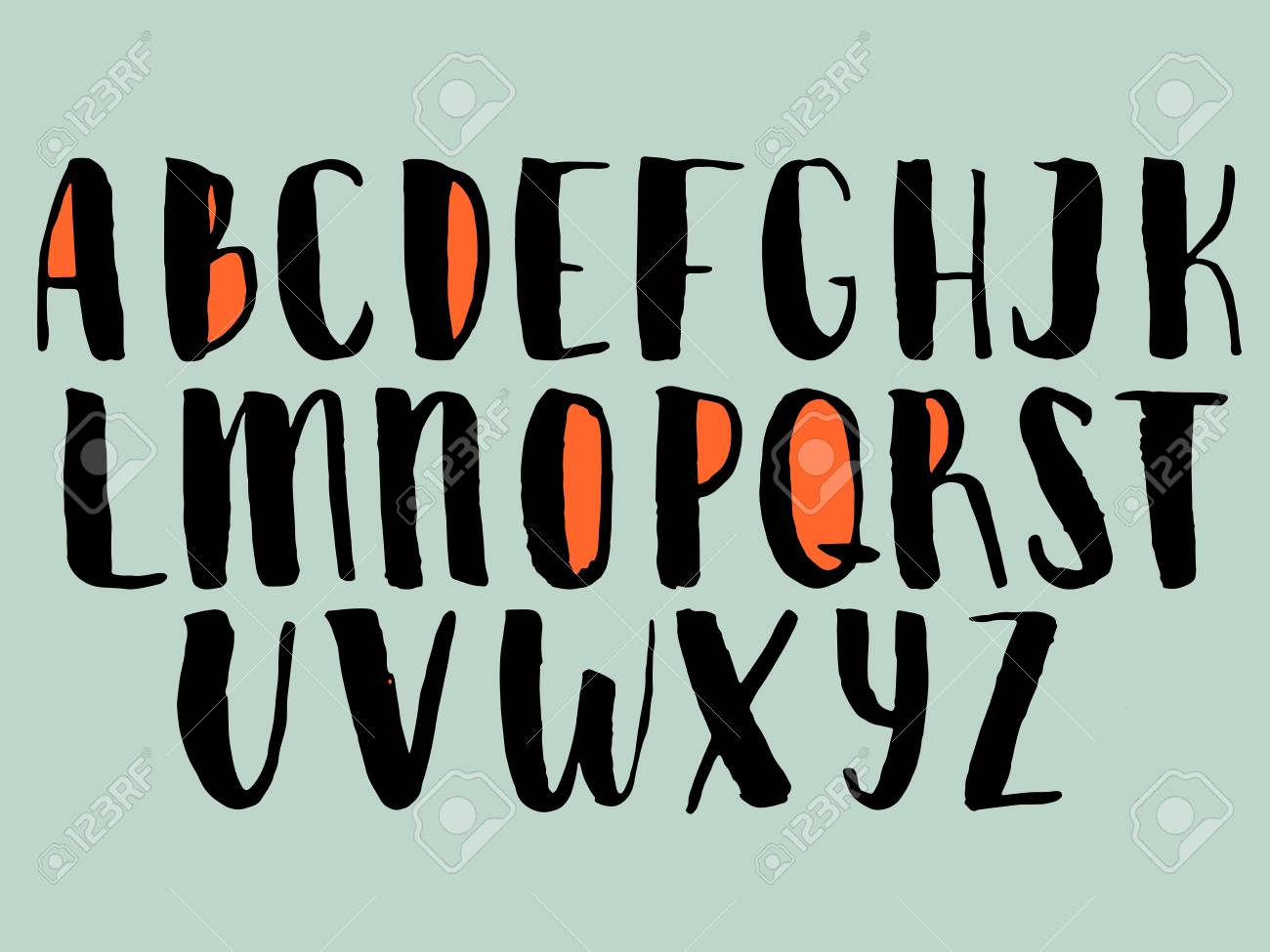 Alphabet calligraphy letters letters of the alphabet written