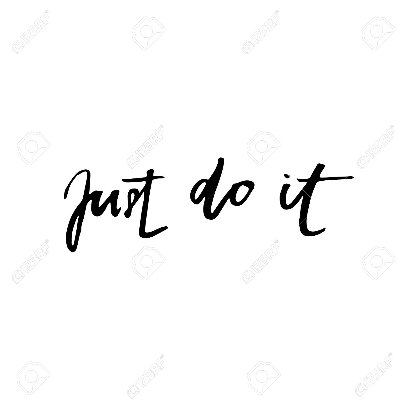 just do it motivational quote about work lettering phrase black