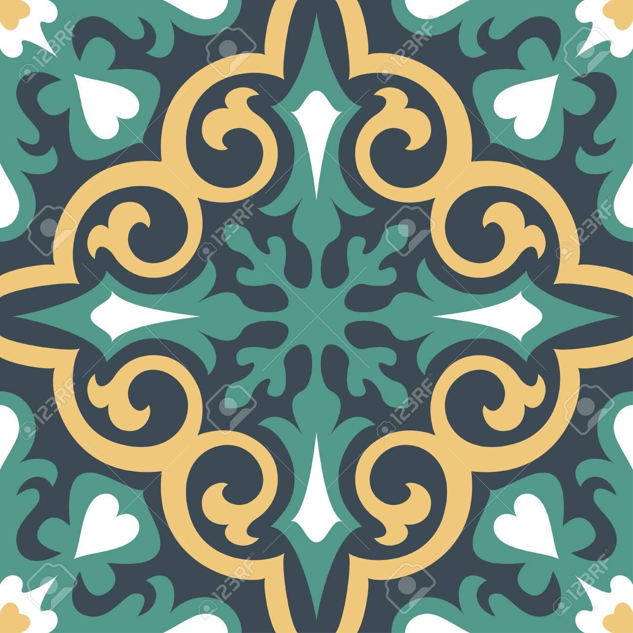 美しい装飾タイルの背景を設定します ベクトル イラスト壁紙
