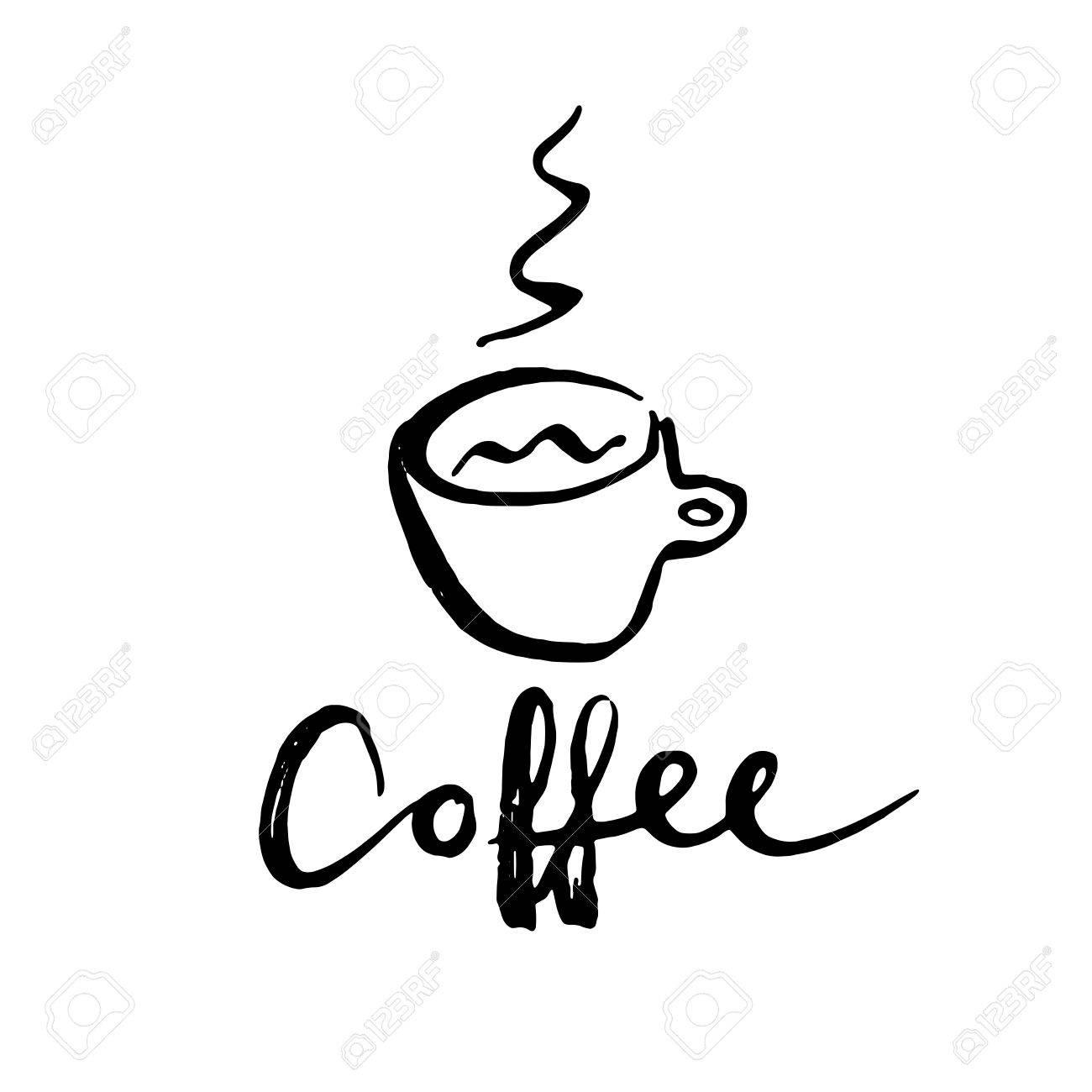 Letras La Palabra Café Cartas Manuscritas Con Taza De Café Letra Moderna Del Cepillo Puede Ser Utilizado Para La Impresión Bolsos Camisetas