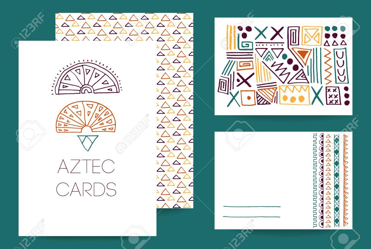 Negocios Tarjetas Aztecas De La Empresa Colección De Plantillas Creativas De Tarjetas Ornamento Delicado Simple Dibujado A Mano Garabatos Boda