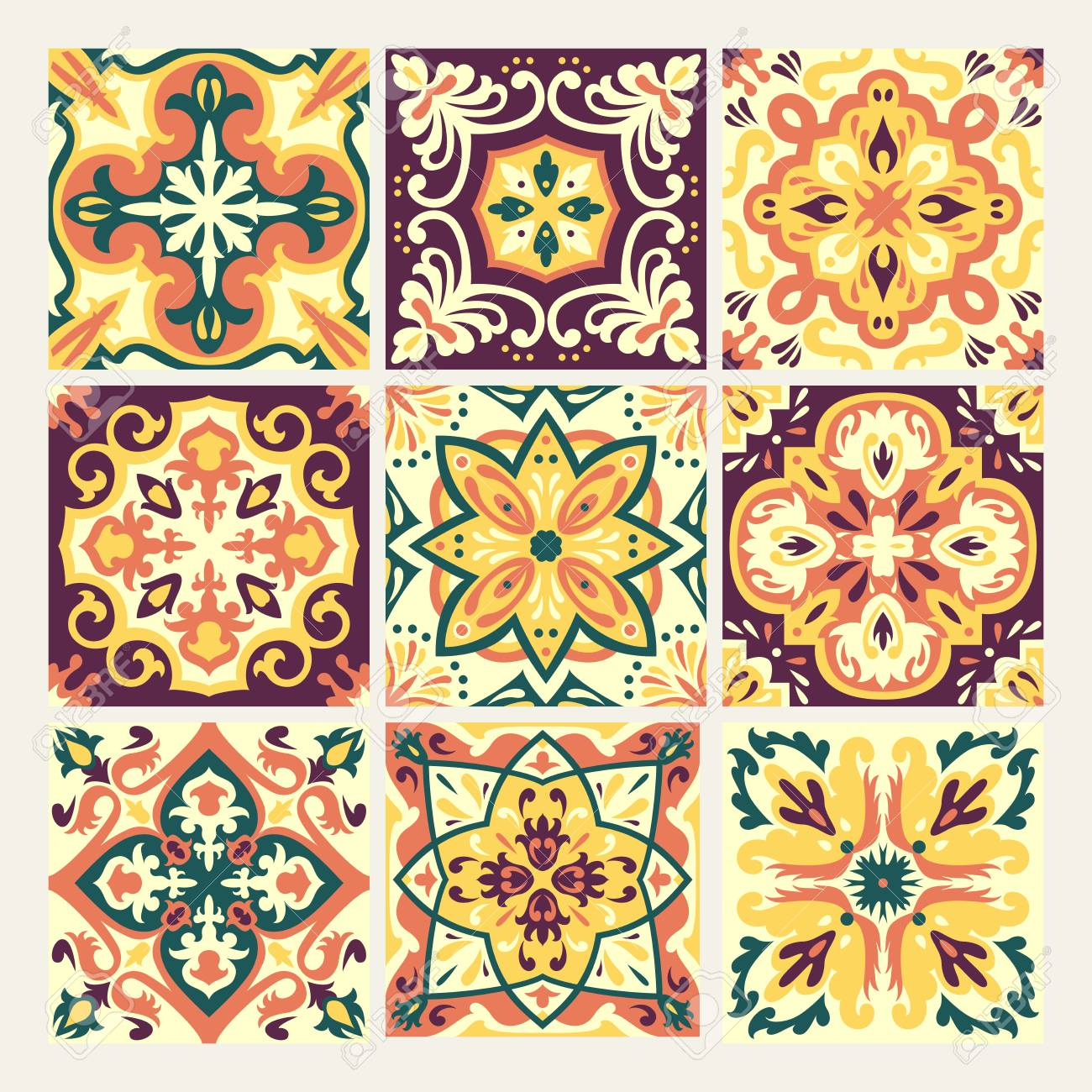 Set With Beautiful Seamless Ornamental Tile Background. Vector ...