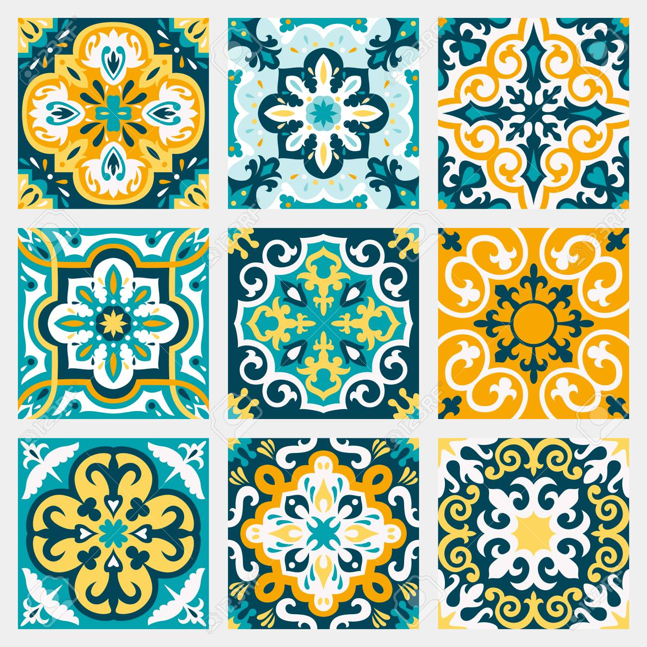 Set With Beautiful Seamless Ornamental Tile Background Vector