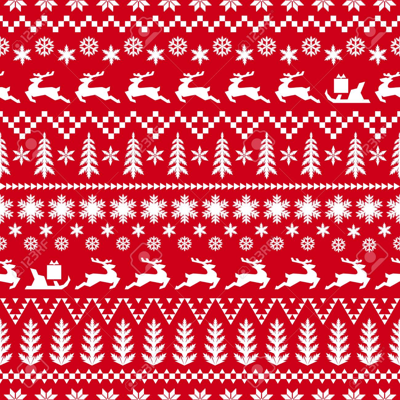 Christmas Pattern.Christmas Pattern In Classic Red And White Colors Winter Illustration