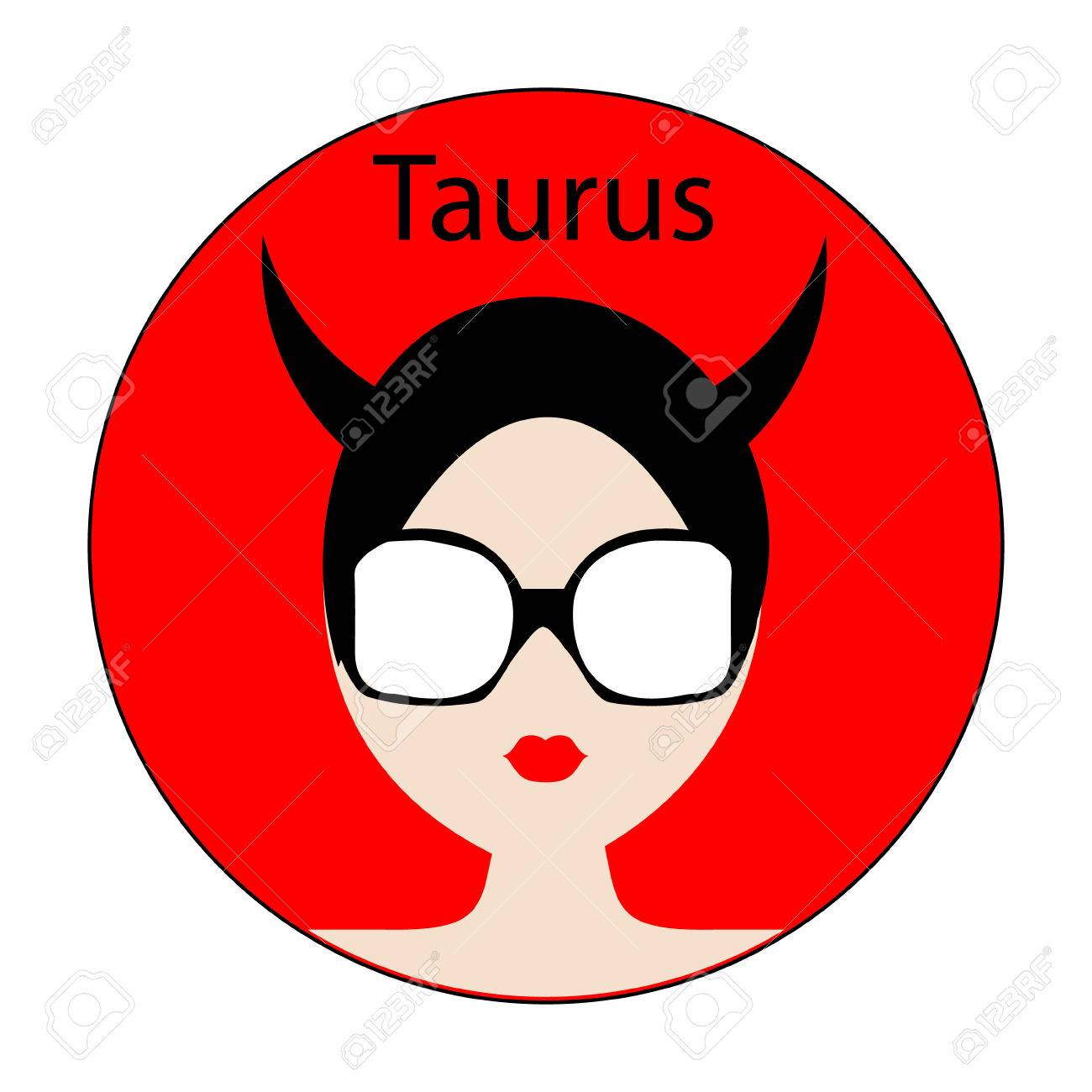 Taurus Zodiac Sign Icon With Fashionable Woman Face With Trendy