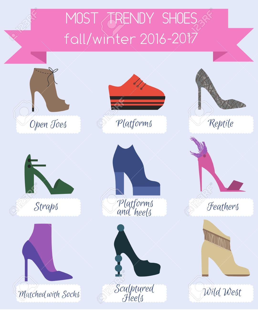 4512873e1 Les femmes de la mode à la mode chaussures infographique. Chaussures  tendances automne hiver 2016. Flat set style.