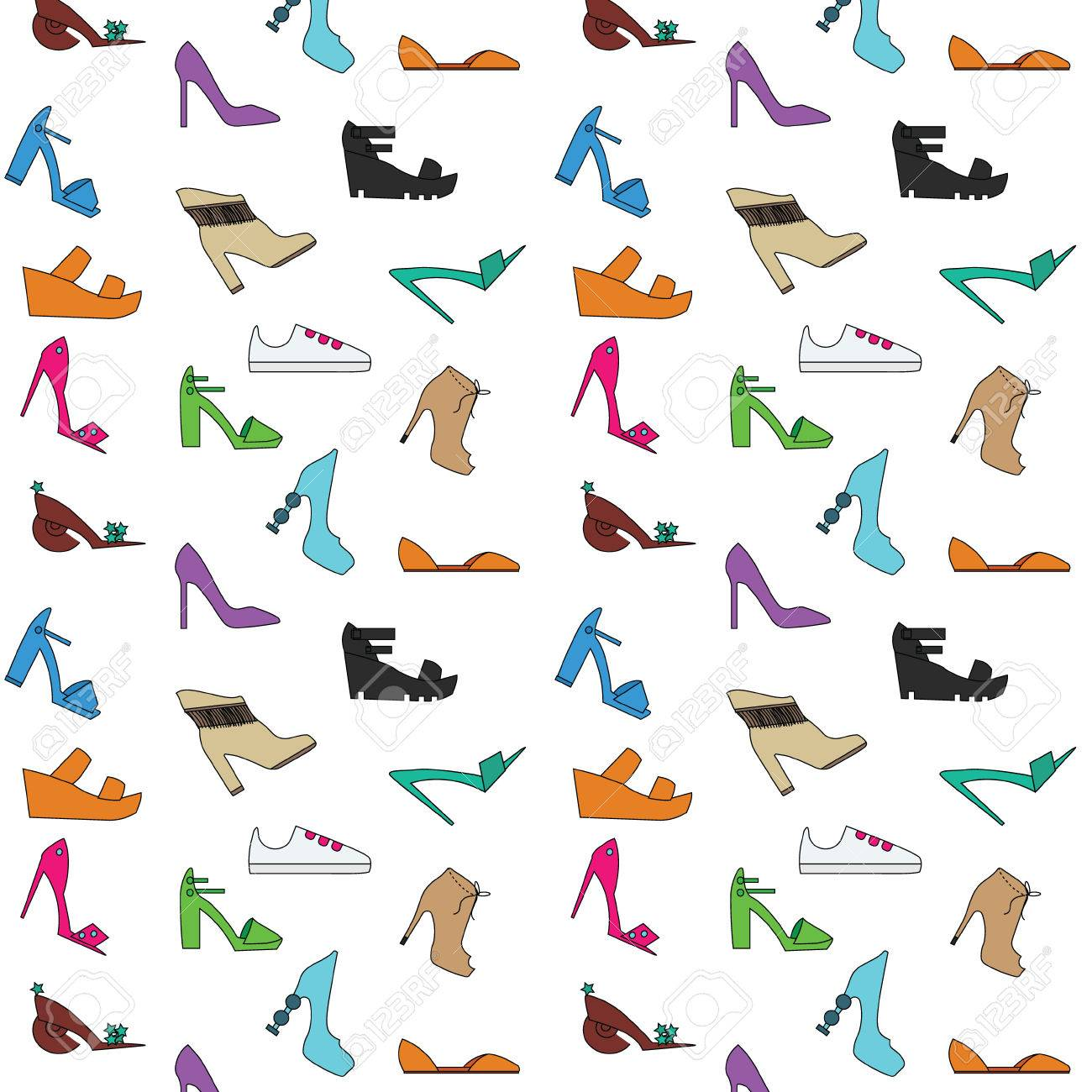 Women S Shoes Pattern Types Of Women Shoes Hand Drawn Style Royalty Free Cliparts Vectors And Stock Illustration Image 55594370