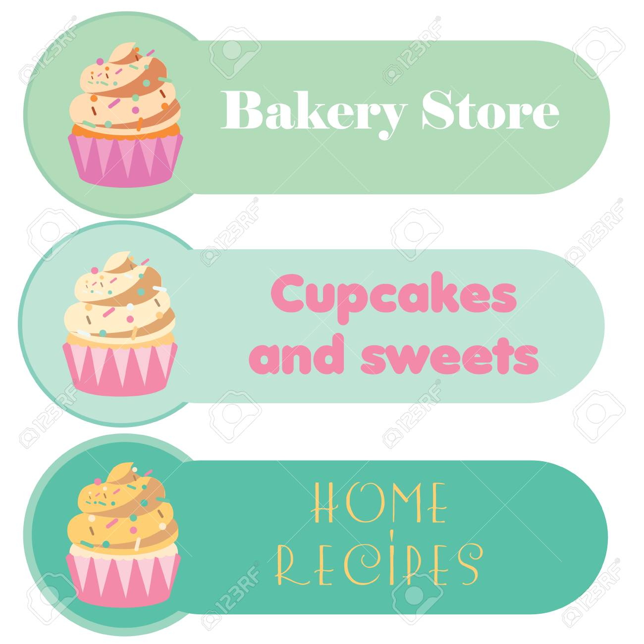 Cupcake Banners Set For Your Business Greeting Cards Menu
