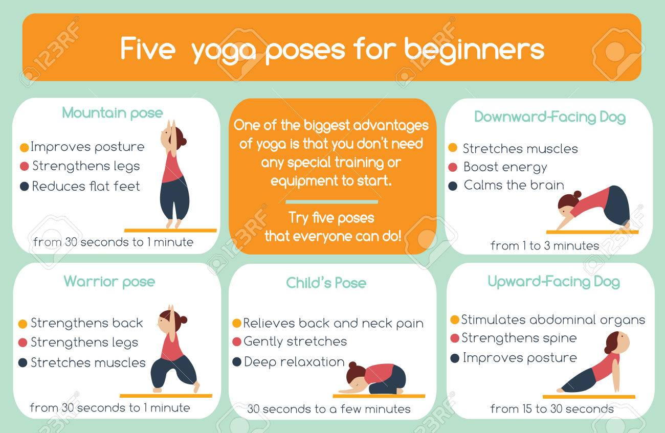 Yoga poses for beginners infographic. Five poses that everyone can do - 56669962