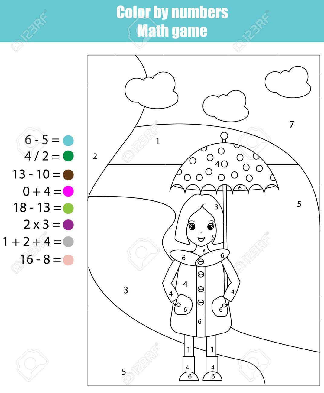 Dibujo Para Colorear Con La Chica El Color De Los Niños Matemáticas Números Juego Educativo Durante Años Los Niños Escolares