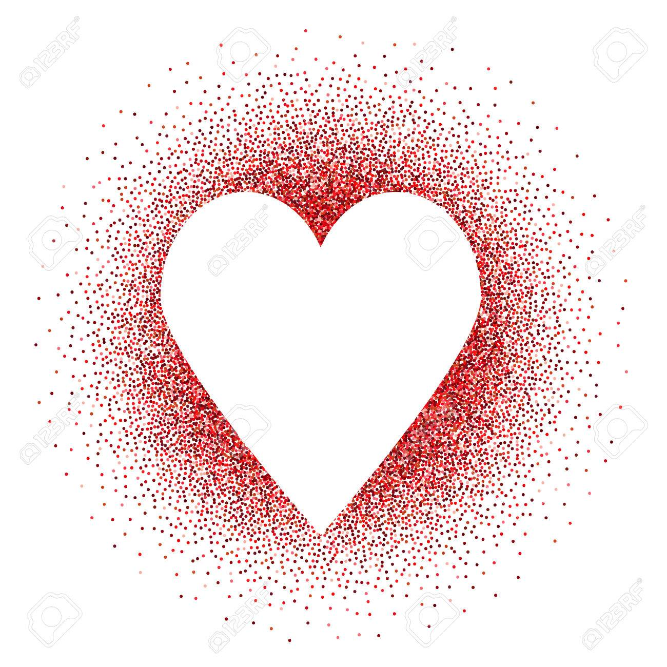 White Heart In Red Glitters Vector Background Love Symbol Design