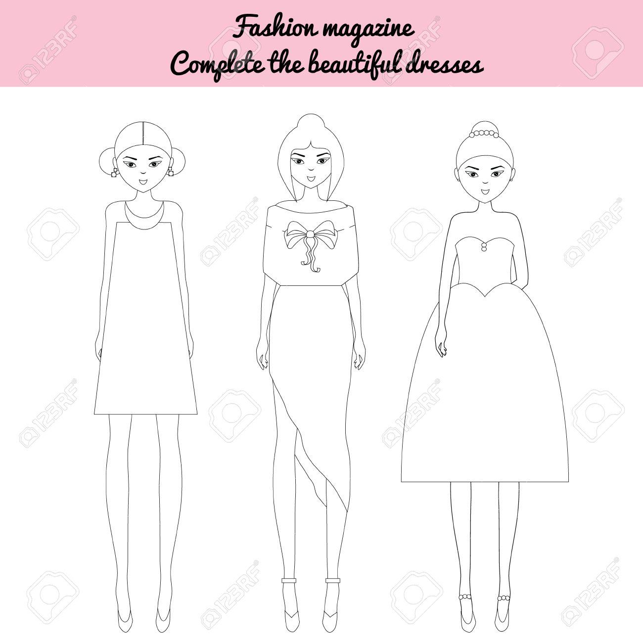 Dibujo Para Colorear Para Los Niños Ser Un Juego Editora De Moda Colorear El Modelos De Moda Hoja De Revista De Moda Muñecas De Fantasía En El