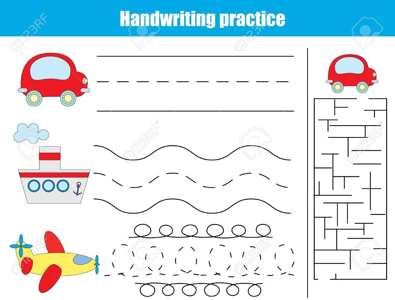 Hoja De La Práctica De Escritura A Mano Juego Educativo De Los Niños Writitng Formación Tema Del Transporte Conectar Los Puntos Y Resolver La