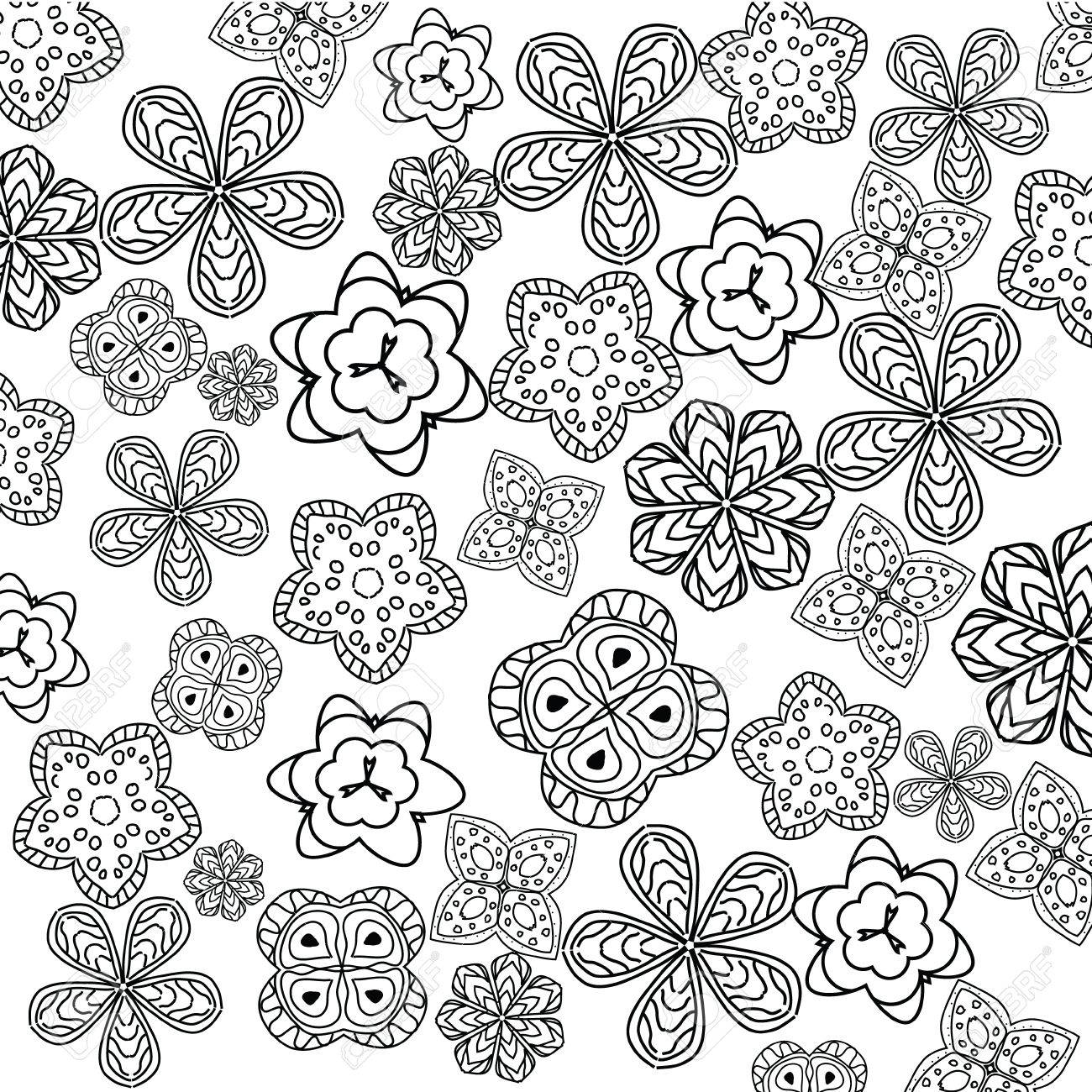 Relajante Página Para Colorear Con Flores Para Niños Y Adultos ...