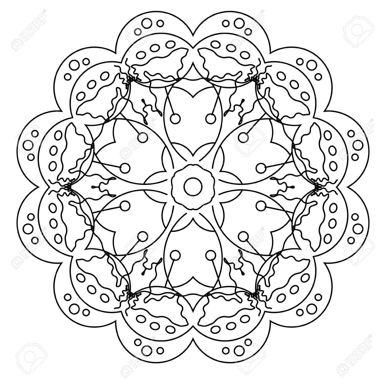 Relajante Página Para Colorear Con La Mandala Del Vector Para Niños ...
