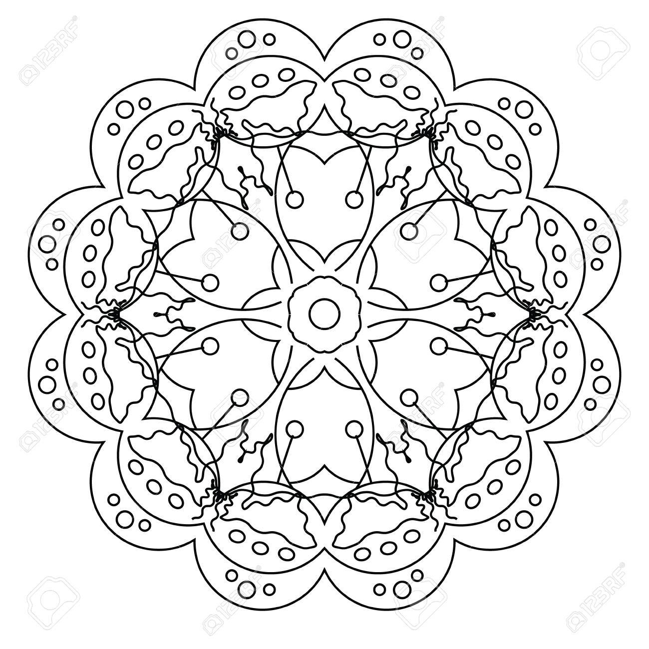 Relaxing Coloring Page With Vector Mandala For Kids And Adult ...