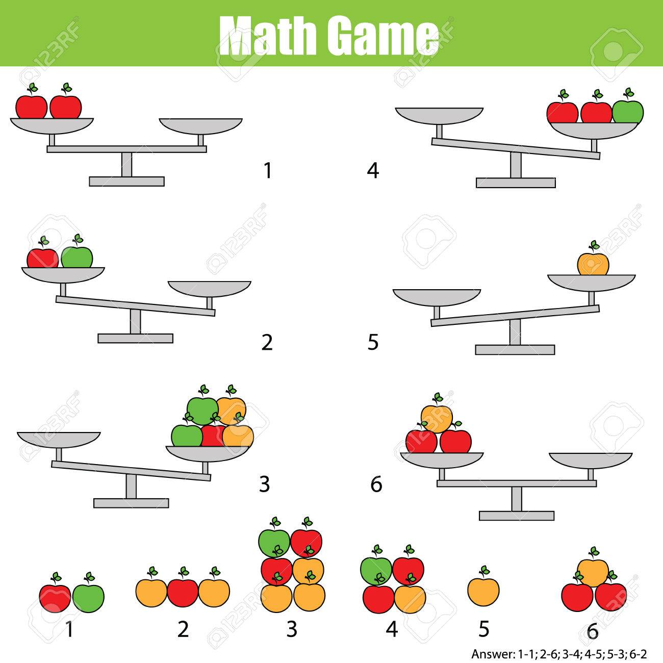 Matemáticas Juego Educativo Para Los Niños Equilibrar La Balanza Conteo De Aprendizaje Ecuación Matemática Pesos Y álgebra