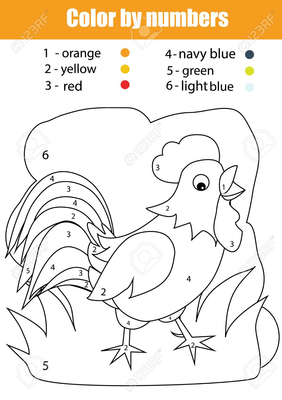 coloring page with chicken color by numbers task educational