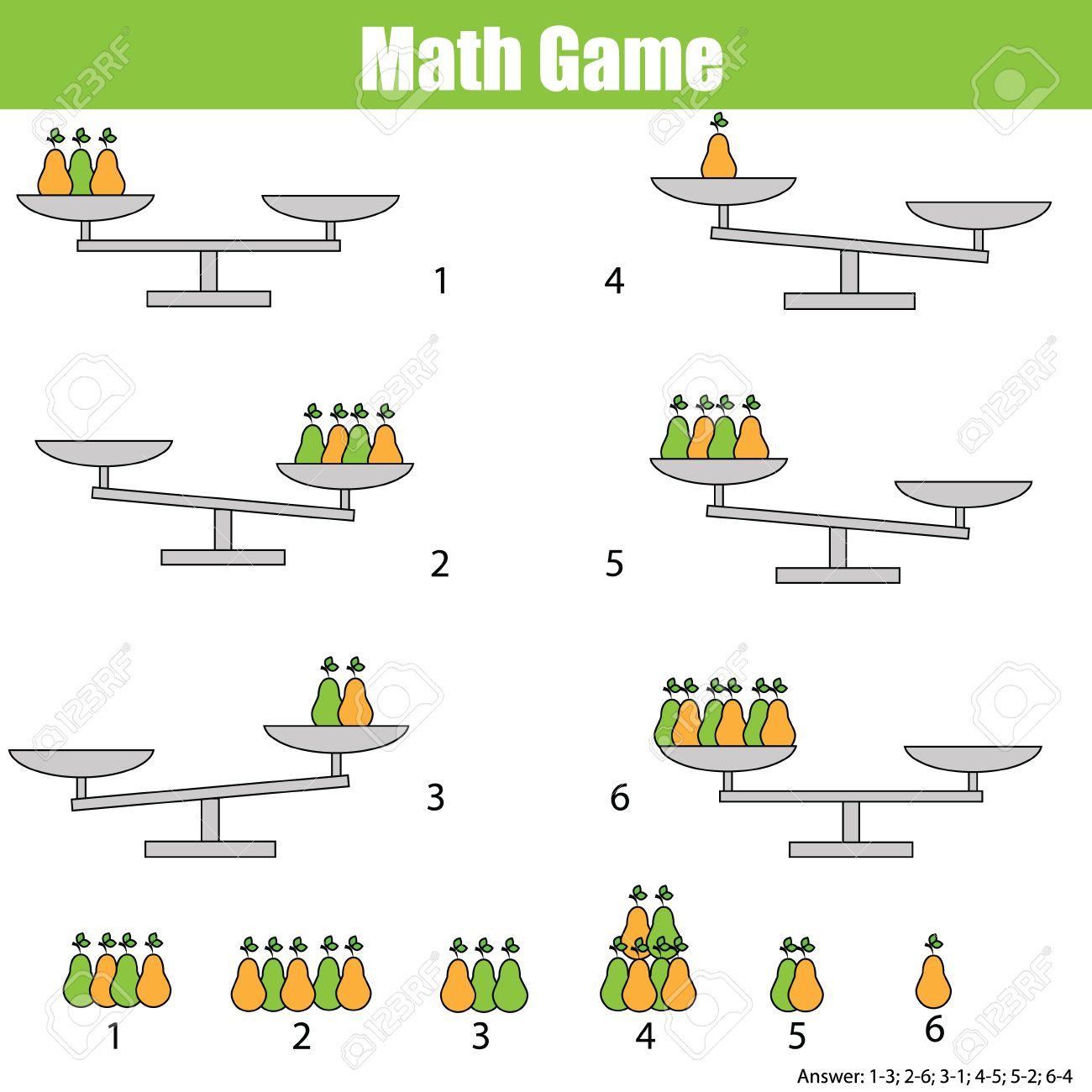 Mathematik Lernspiel Für Kinder. Balance Der Skala. Lernen Zählen ...