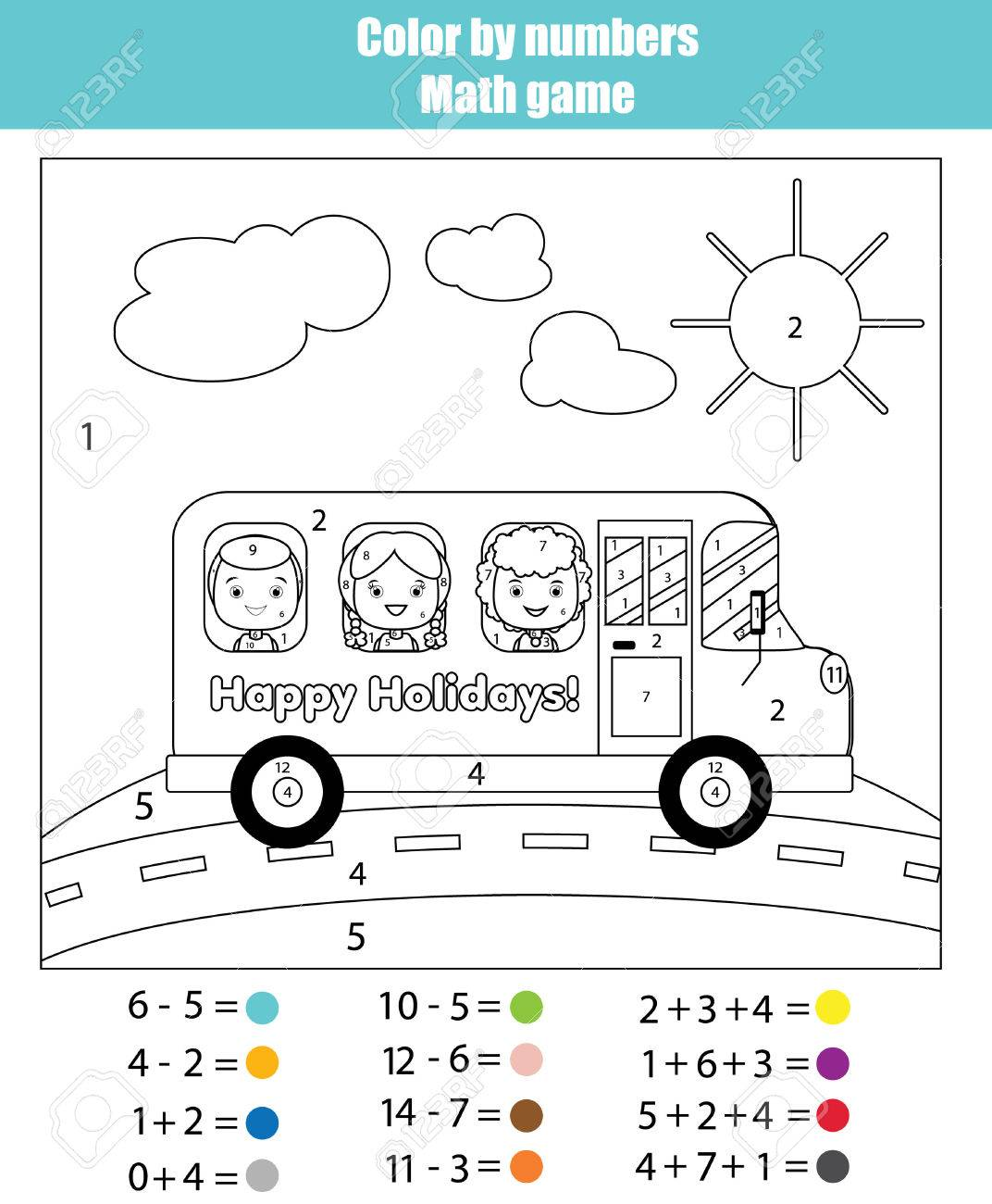 Coloring Page With Kids Traveling In School Bus. Color By Numbers ...