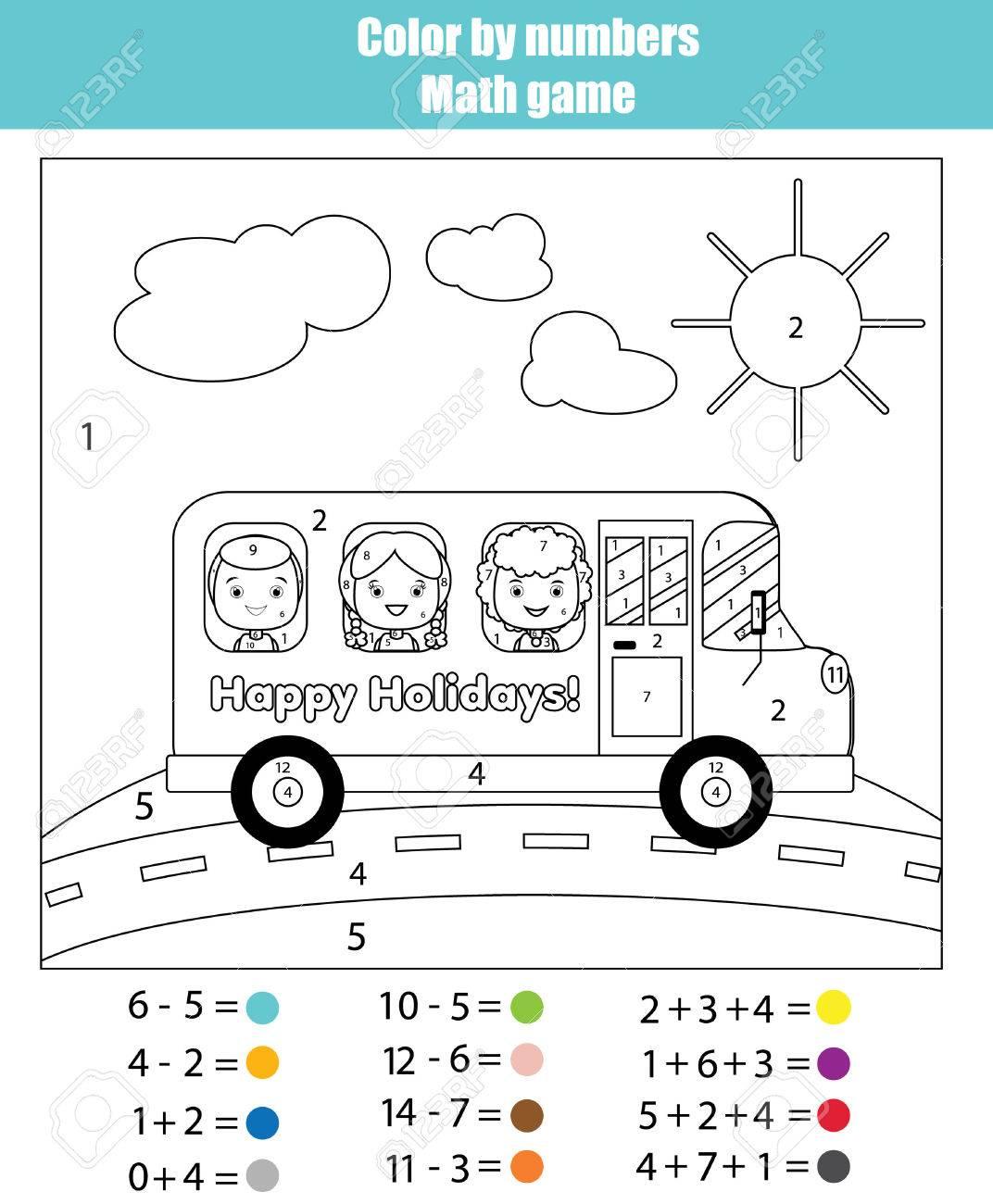 La Página De Colorear Con Los Niños Que Viajan En El Autobús Escolar ...