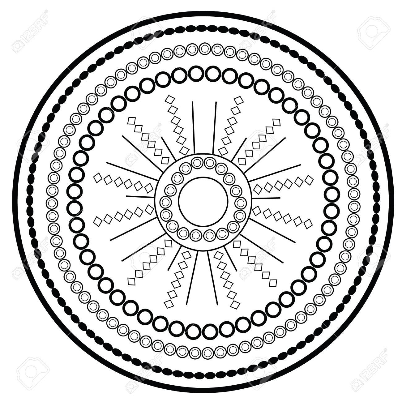 Página Para Colorear Relajante Con Mandala De Vector Para Niños Y ...