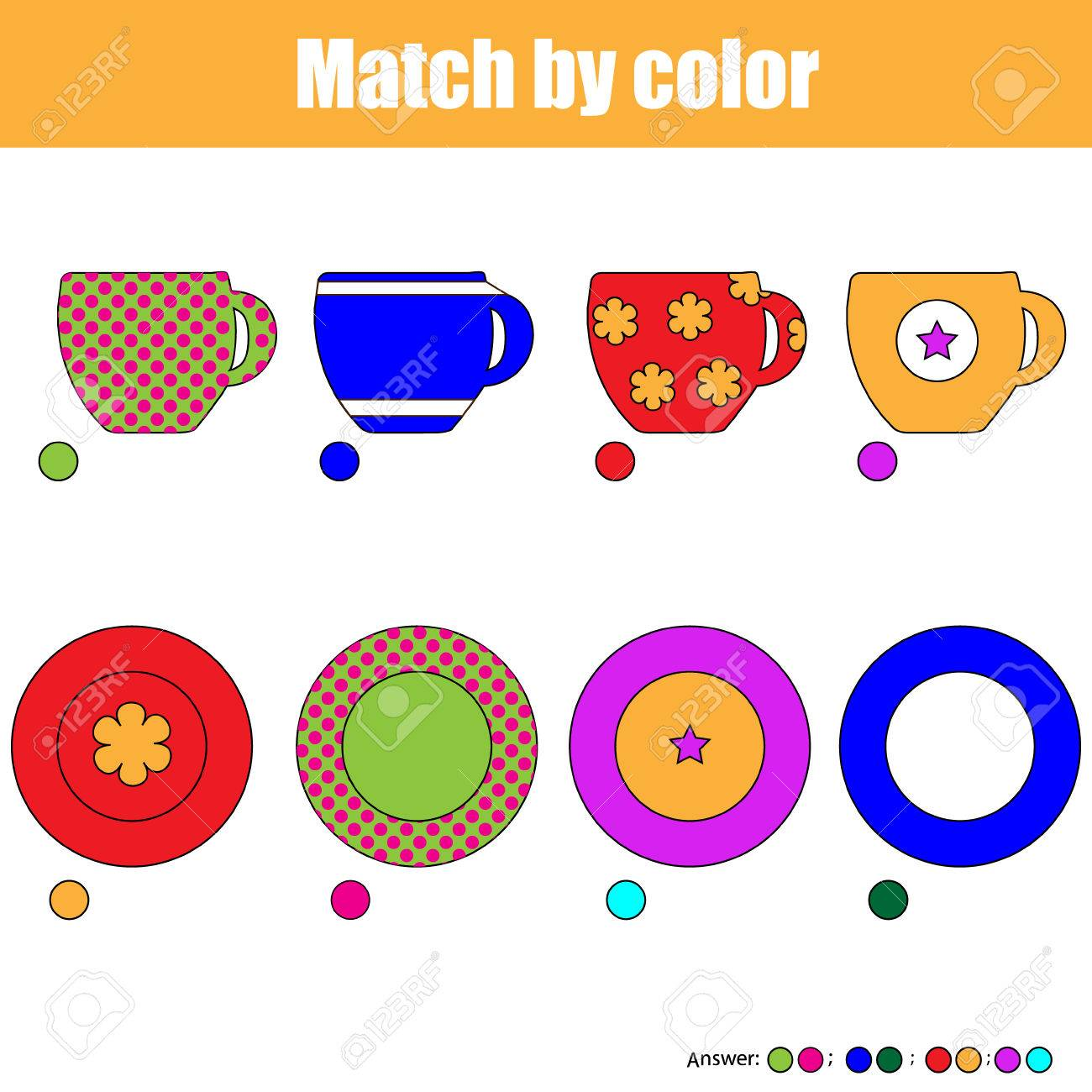 Matching pairs game for kids. Find the right pair for each cup and plate, children educational game - 60203515