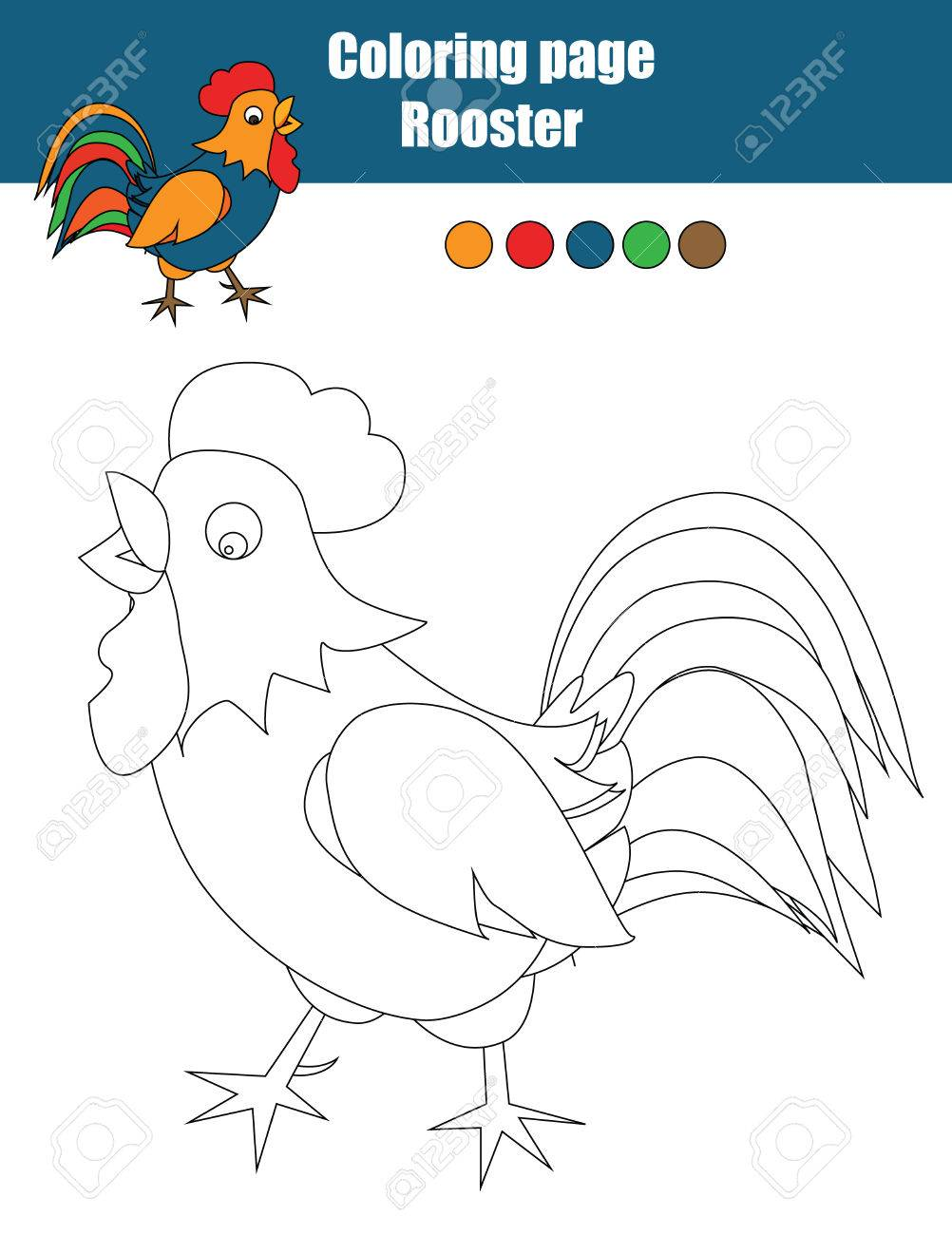 coloring page with color the rooster drawing activity