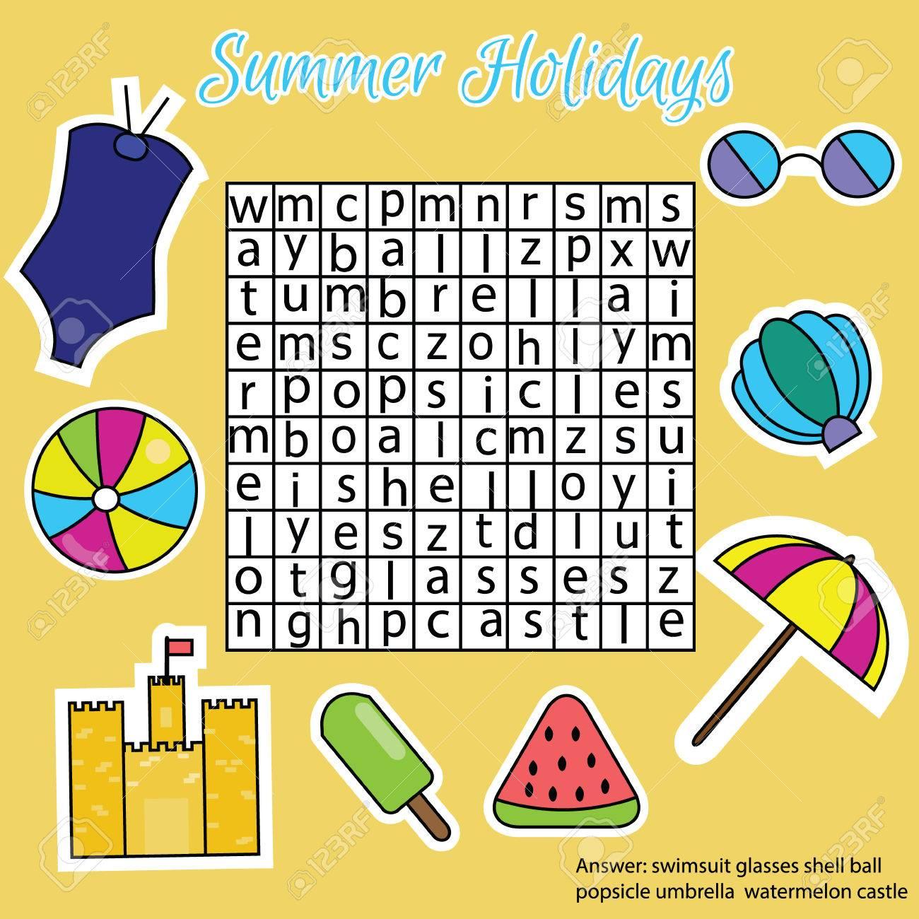 Wortsuchrätsel. Worte Finden Kinder Lernspiel. Vokabeln Lernen ...