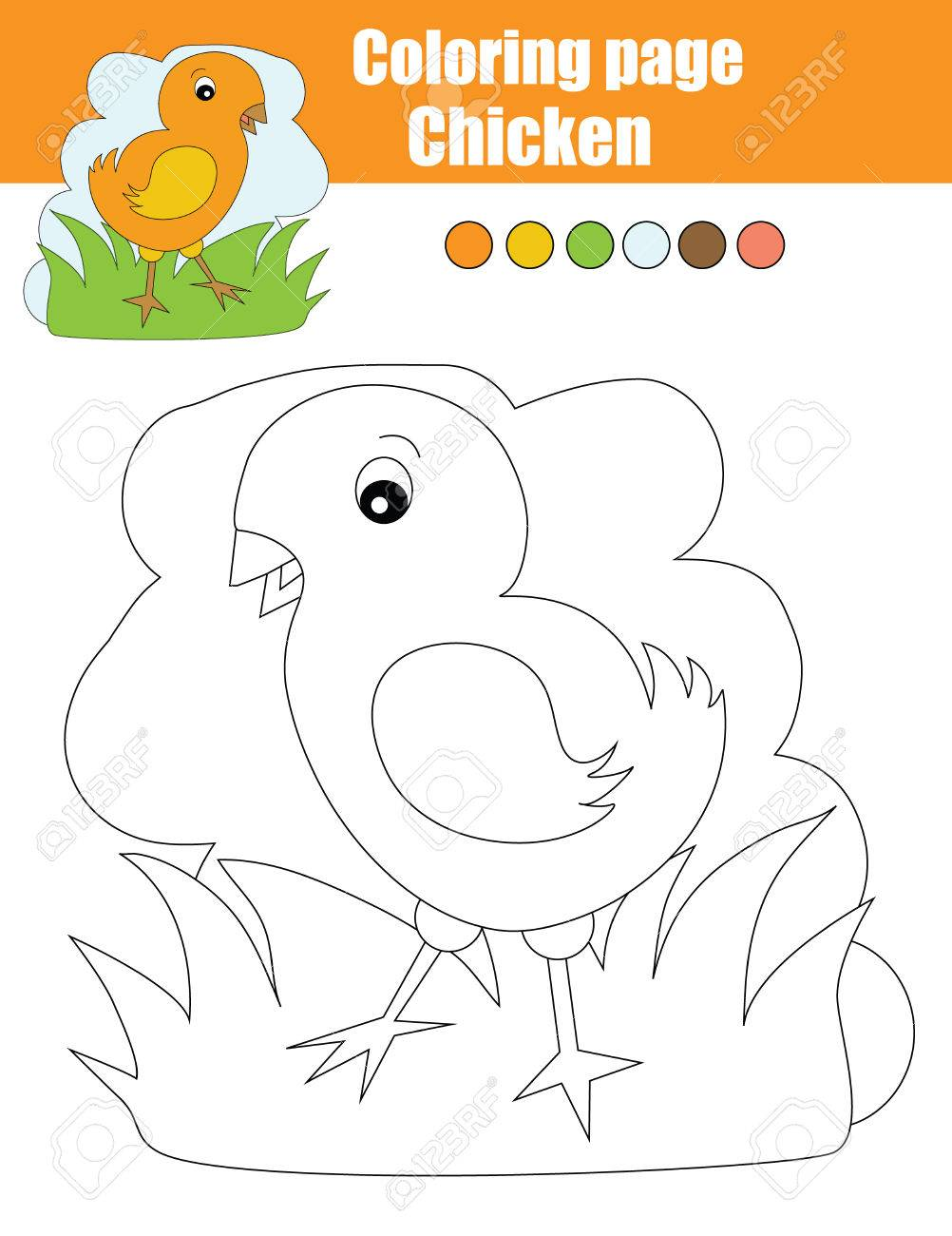 Dibujo Para Colorear Con Pollo. Dibujo Infantil Actividad. Juego ...